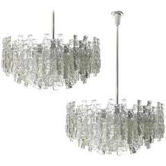 Four Large Kalmar Chandeliers, Ice Glass and Nickel, 1960s