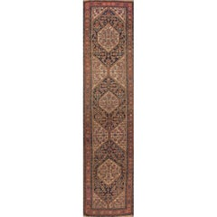 Antique Rust and Blue Malayer Runner Rug