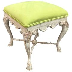 Swedish Gustavian Stool In Lemon Green Faux Suede Fabric