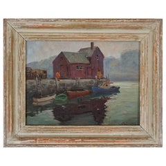 "Melville F. Stark ""The Boathouse"" Oil on Canvas Board Mid-Century"