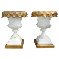 Pair of Italian Alabaster Urn Form Lamps on Gilt Wood Bases