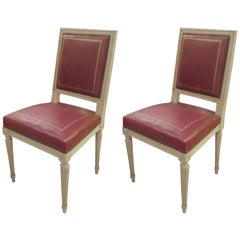 Pair of Louis XVI Style Chairs, Attributed to Maison Jansen