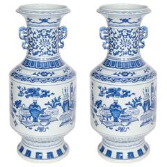 Pair of Chinese Blue and White Baluster Form Vases