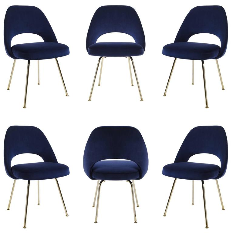 Superieur Saarinen Executive Armless Chairs In Navy Velvet, 24k Gold Edition, Set Of  6 For