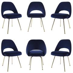 Saarinen Executive Armless Chairs in Navy Velvet, 24k Gold Edition, Set of 6