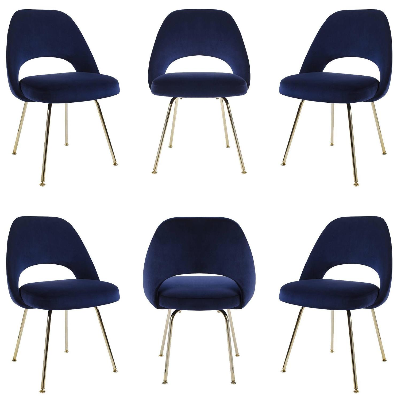 Saarinen Executive Armless Chairs in Navy Velvet 24k Gold Edition