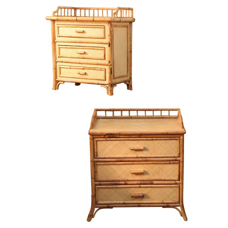 Mid-Century Pair of Rattan  End Tables /Night Stands 1