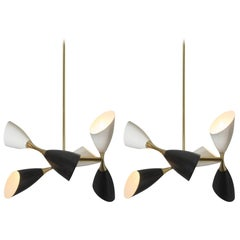 Pair of Italian Brass Six-Light Chandeliers with Black and Ivory Cones