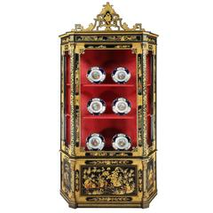 Italian Black Lacquer and Gilt Chinoiserie Cabinet, 19th Century