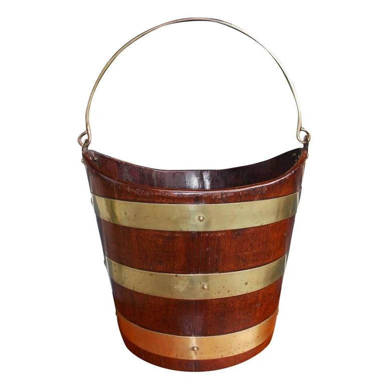 English Navette Form Mahogany Brass Banded Peat Bucket, Circa 1800