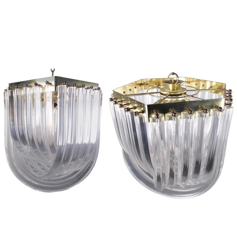 Pair of Mid-Century Modern Lucite Ribbon Chandeliers