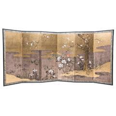 """Autumn Riverbank"" Six-Panel Byobu Screen"