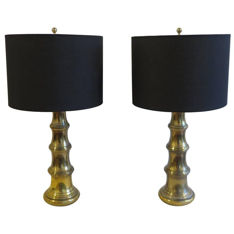 Pair of Brass Lamps by Stiffel For Sale