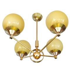 French Maison Arlus Glass Brass Chandelier Pendant LIght, 1960s