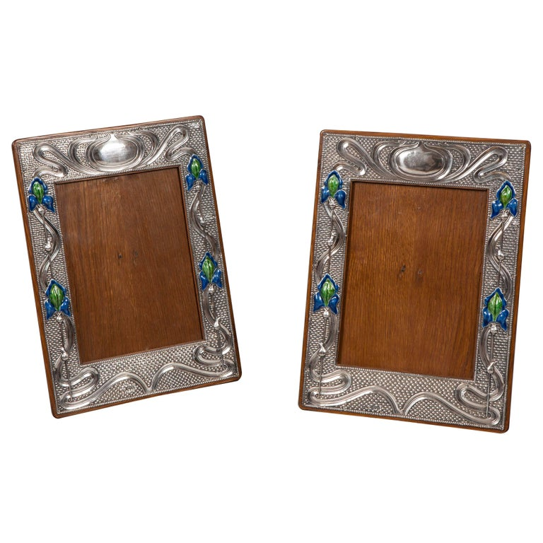 Pair of English 20th Century Art Nouveau Silver and Enamel Photograph Frames For Sale