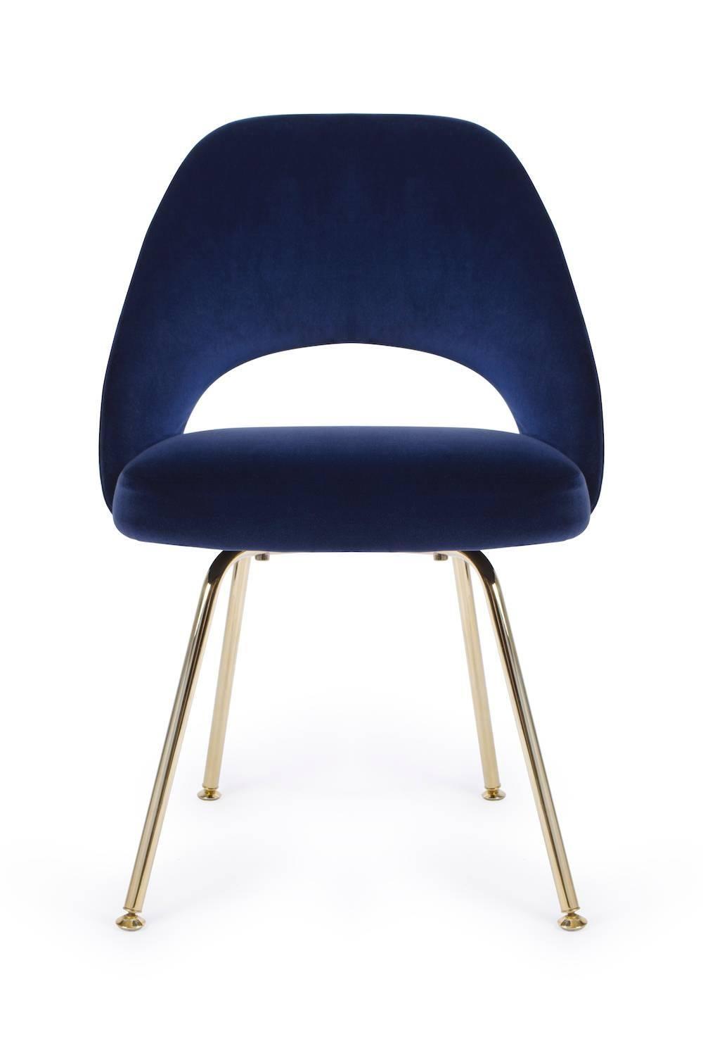 Saarinen Executive Armless Chair In Navy Velvet 24k Gold Edition
