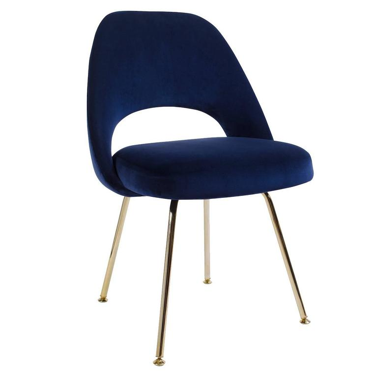 Saarinen Executive Armless Chairs In Navy Velvet 24 Karat Gold Edition For S