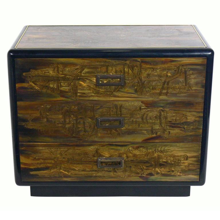 Etched Brass and Black Lacquer Chest by Bernhard Rohne for Mastercraft