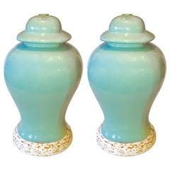 Pair of American Mid-Century Celadon Temple Jar Porcelain Lamps