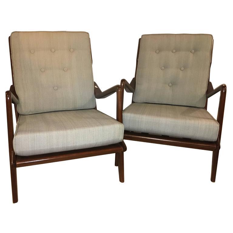 Pair of Danish Modern Arm Lounge Chairs Sytle of Ib Kofod-Larsen