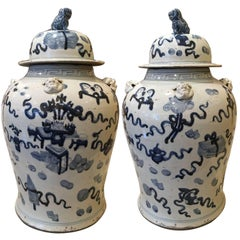 Pair of 19th Century Chinese Blue and White Temple Jars