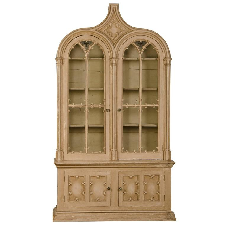 Superbe Antique English Gothic Revival Painted And Carved Cabinet Of Grand Scale,  1840 For Sale