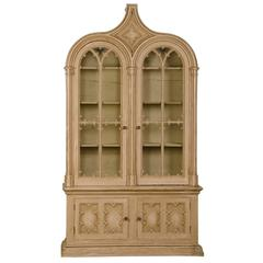 Antique English Gothic Revival Painted and Carved Cabinet of Grand Scale, 1840