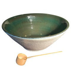 Japan Big Hand Thrown & Glazed Green Stoneware Bowl, 24""
