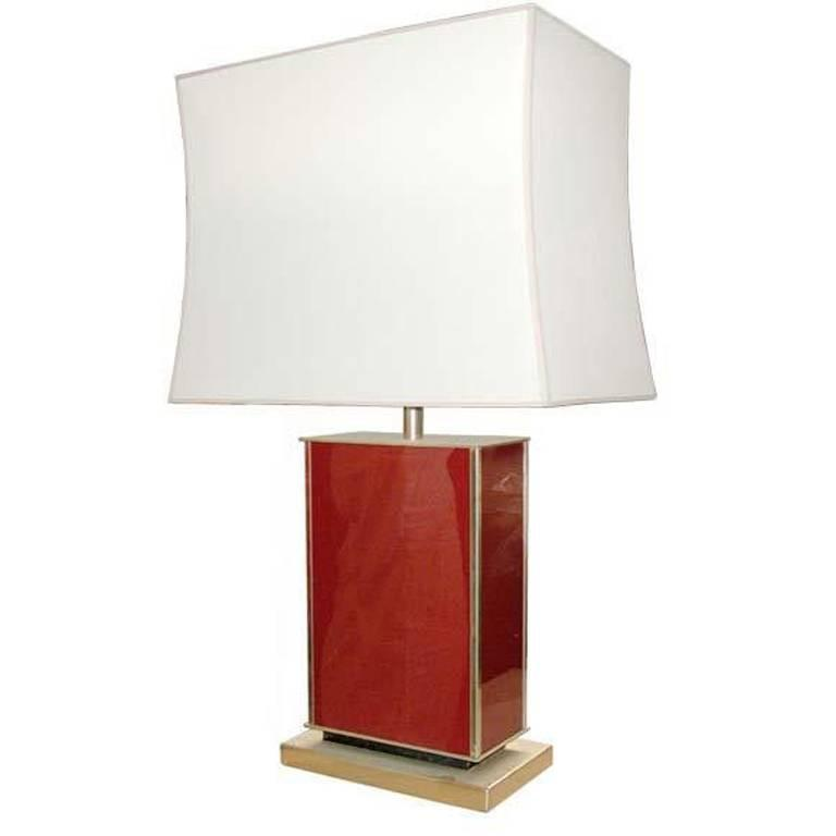 Coral Red Lacquer Table Lamp For Sale