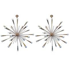 Pair of Large 1960s  Italian Mid Century Brass Starburst Sputnik Chandeliers