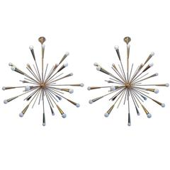Pair of Large 1960s  Italian Mid Century Brass Starburst Sputnik Chandeliers