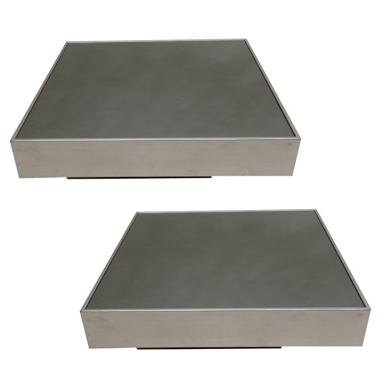 Pair of Italian Mid-Century Modern Side Tables by Willy Rizzo for Cidue, 1970 For Sale