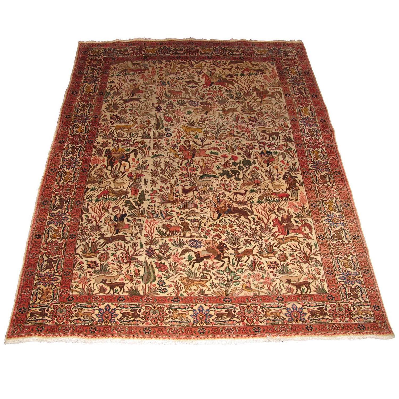 figural tabriz isfahan persian rug with hunting scene