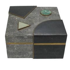 Stone and Brass Box Geometric Postmodern, USA, 1980s