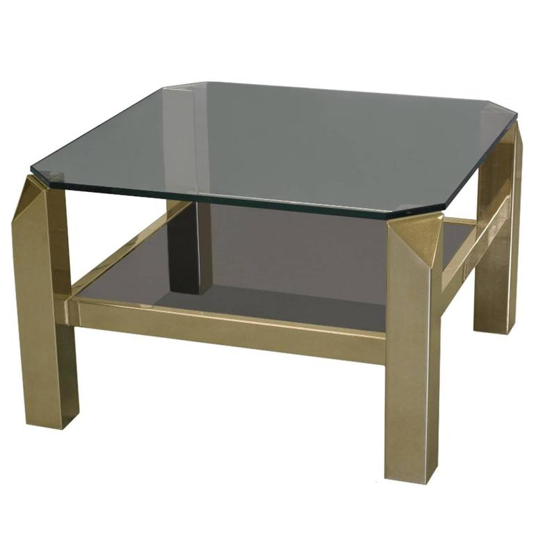1970s French Faceted Corner Two-Tier Brass Side Table
