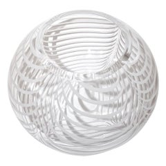 Formia 1970s Modern Italian Crystal Murano Glass Bowl with White Filigrana