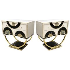 Italian Modern Pair of Geometric Black White and Brass Side Tables / Nightstands