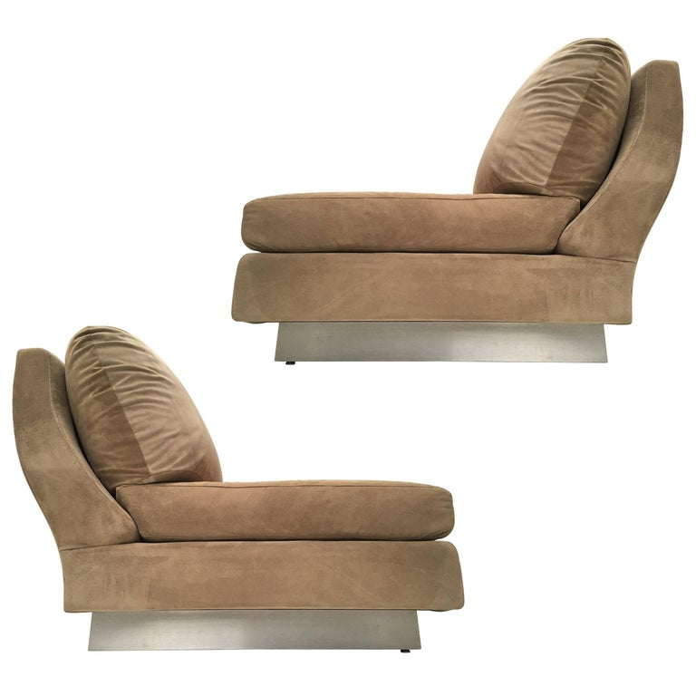Superb Pair of Suede Willy Rizzo Lounge Chairs, Signed Studio Willy Rizzo, 1969 For Sale