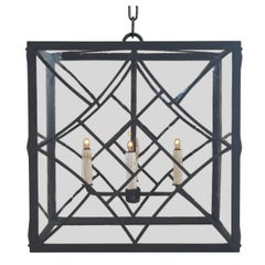 Mid-Century Modern Pendant, Wrought Iron with Antique Style Glass
