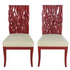 20th Century Red Bent Rattan and Mahogany Chairs, Pair