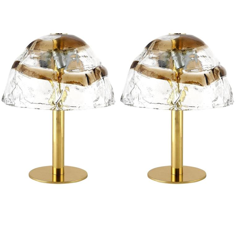 Pair Kalmar Table Lamps, Brass and Murano Glass, 1970