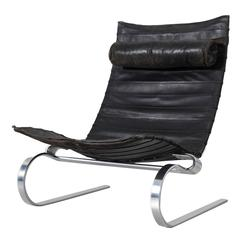 Poul Kjærholm Early PK20 Lounge Chair in Black Leather