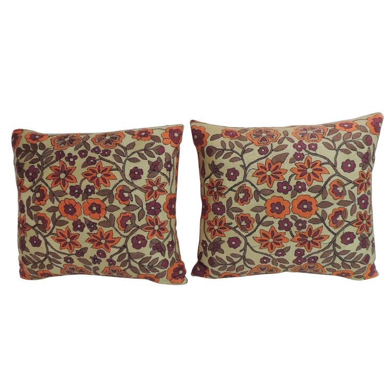 Pair of Orange Floral Vintage Suzani Decorative Pillows