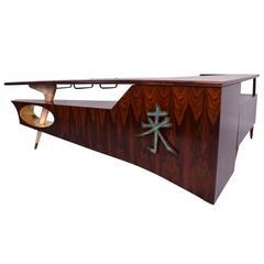 Frank Kyle Modernist Rosewood Desk/Bar with Mendoza Hardware