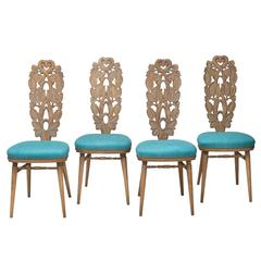 Giovanni Gariboldi, Attributed, Rare Set of Italian Carved & Cerused Oak Chairs