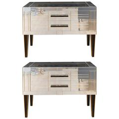 Pair of Commodes in Mirror and Teinted Glass Made by a Designer for Justine