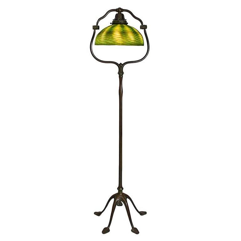 tiffany studios favrille  u0026quot harp u0026quot  floor lamp for sale at 1stdibs