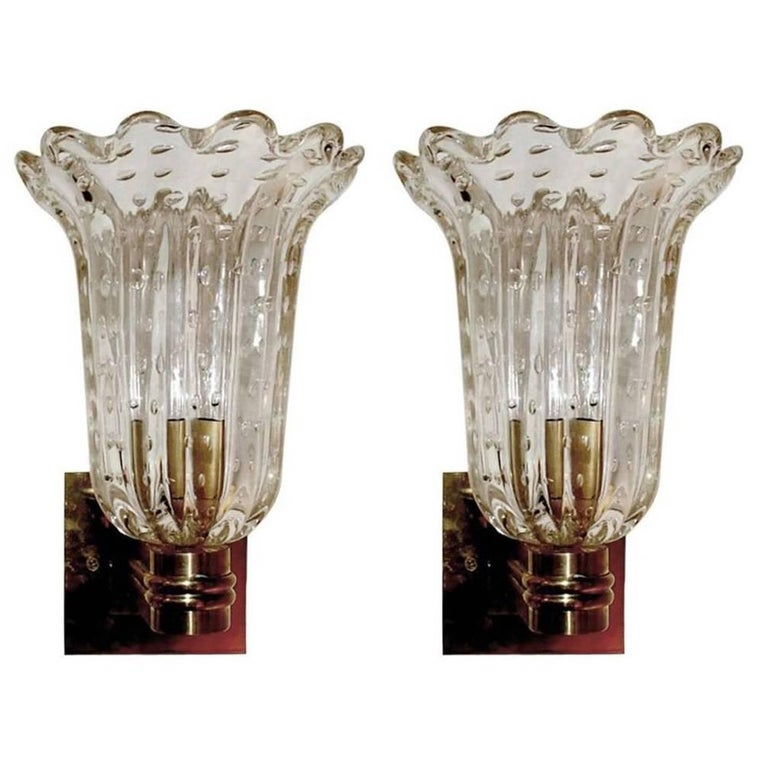 Italian Murano Glass Barovier and Toso Sconces