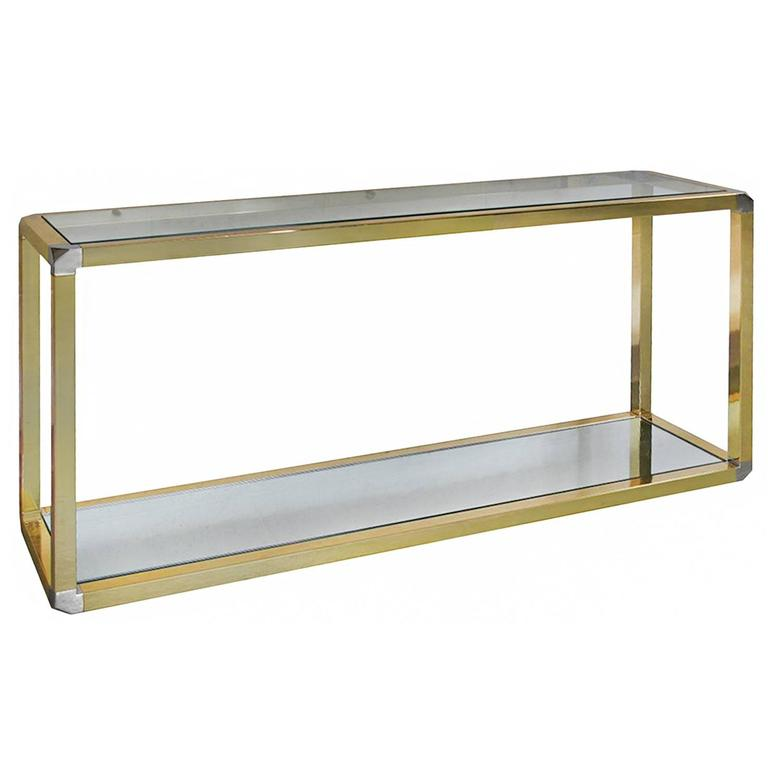 1970s French Two Tiered Brass Console Table With Faceted Corners For Sale