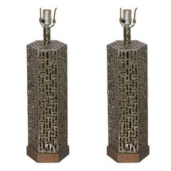 Pair of Marcello Fantoni Torch Cut Bronzed Brass Brutalist Hexagon Table Lamps